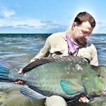 "Similar colors, but very different fish. Bumphead parrotfish or ""bumpy"""